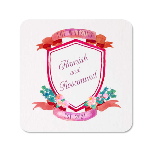 Our custom White Photo/Full Color Round Coaster with Matte Plum Ink Digital Print Colors and a Lush Ribbon and Floral Crest can be customized to complement every last detail of your party.