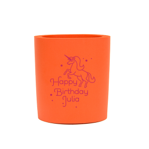 ForYourParty's chic Orange Slim Can Cooler with Matte Fuchsia Ink Cup Ink Colors has a Unicorn graphic and is good for use in Animals, Kid Birthday, Birthday themed parties and will make your guests swoon. Personalize your party's theme today.