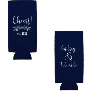Our beautiful custom Navy Slim Can Cooler with Matte White Ink Cup Ink Colors has a Rose Laurel graphic and is good for use in Wedding, Floral themed parties and couldn't be more perfect. It's time to show off your impeccable taste.