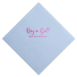 Our custom Powder Blue Cocktail Napkin with Shiny Fuchsia Foil will make your guests swoon. Personalize your party's theme today.
