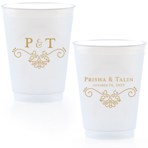 Custom Gold Ink 16 oz Frost Flex Cup with Gold Ink Screen Print has a Swirls graphic and is good for use in Wedding and Anniversary themed parties and can be customized to complement every last detail of your party.
