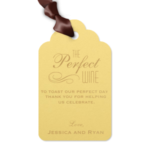 ForYourParty's elegant Poptone Mimosa Wine Gift Tag with Satin 18 Kt. Gold Foil has a Flourish graphic and couldn't be more perfect. It's time to show off your impeccable taste.