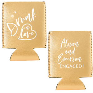 Our beautiful custom Metallic Gold Flat Can Cooler with Matte White Ink Cup Ink Colors has a Heart Outline 2 graphic and is good for use in Wedding, Hearts themed parties and are a must-have for your next event—whatever the celebration!