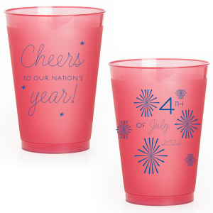 Our custom Red 16oz Frost Flex Color Cup with Matte Royal Blue Ink Screen Print has a starburst stars graphic and is good for use in Lovely Press themed parties and can be customized to complement every last detail of your party.