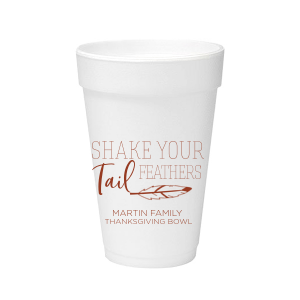 Custom 16 oz Styrofoam Cup with Matte Brick Ink Cup Ink Colors has a Feather graphic and is good for use in  Trendy, Sporty Family and Thanksgiving themed parties and couldn't be more perfect. It's time to show off your impeccable taste.