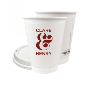 ForYourParty's personalized Matte Merlot Ink 12 oz Paper Coffee Cup with Matte Merlot Ink Screen Print will make your guests swoon. Personalize your party's theme today.