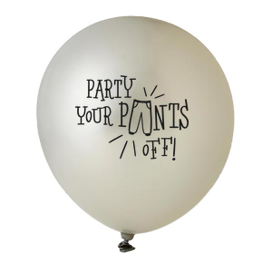Our personalized Silver Designer Balloon with Black Ink Ink Color has a Party Pants graphic and is good for use in Graduation, Birthday, Retirement themed parties and couldn't be more perfect. It's time to show off your impeccable taste.