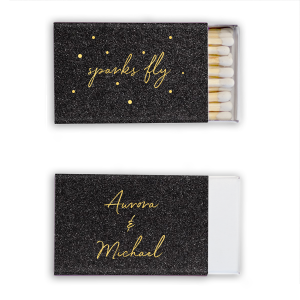 ForYourParty's personalized Stardream Black Classic Matchbox with Shiny 18 Kt Gold Foil will impress guests like no other. Make this party unforgettable.