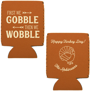 The ever-popular Maroon Round Can Cooler with Matte Ivory Ink Screen Print has a cute Turkey graphic and is good for use in Holiday, Thanksgiving themed parties and will look fabulous with your unique touch. Your guests will agree!