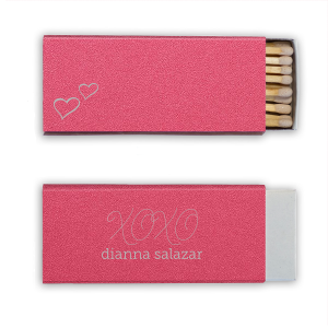Customize this shimmery Fuchsia and Gold matchbox to show off your hostess skills and give adorable personalized party favors! Perfect for any birdal shower, bridal brunch or bachelorette party. The hand lettered script, XOXO and little hearts add a playful feminine touch your bride will love.