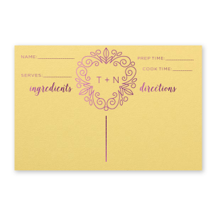 Our custom Poptone Mimosa Recipe Card with Shiny Amethyst Foil has a Letter Frame Invitation graphic and is good for use in Kitchen and Garden themed parties and will look fabulous with your unique touch. Your guests will agree!