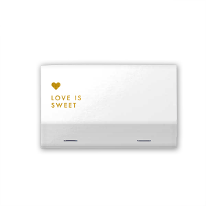 Custom Black 30 Strike Matchbook with Shiny 18 Kt Gold Foil has a Love Is Sweet graphic and is good for use in Wedding, Words, Hearts themed parties and will look fabulous with your unique touch. Your guests will agree!