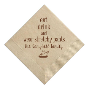 ForYourParty's elegant Sand Cocktail Napkin with Matte Chocolate Foil has a Plated Turkey graphic and is good for use in Food, Thanksgiving themed parties and couldn't be more perfect. It's time to show off your impeccable taste.