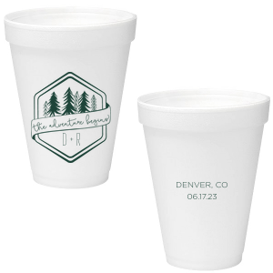 Custom Matte Spruce 16 oz Styrofoam Cup with Matte Spruce Cup Ink Colors has a Adventure Badge graphic and is good for use in Wedding, Travel, Outdoors themed parties and can't be beat. Showcase your style in every detail of your party's theme!