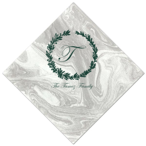 Our beautiful custom Pearl Gold Shimmer Cocktail Napkin with Matte Spruce Foil has a Leaf Frame graphic and is good for use in Holiday and Home parties and can't be beat. Showcase your style in every detail of your party's theme!