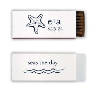 Our personalized Shimmer Crystal White 30 Strike Matchbook with Matte Navy Foil has a Starfish graphic and is good for use in Beach/Nautical themed parties and will look fabulous with your unique touch. Your guests will agree!