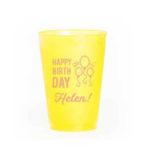 Our personalized Matte Light Coral Ink 12 oz Frosted Plastic Cup has a Balloons graphic and is good for use in Kid Birthday, and Adult Birthday themed parties and will make your guests swoon. Personalize your party's theme today.
