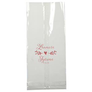ForYourParty's personalized Shiny Rose Quartz Small Cellophane Bag with Shiny Rose Quartz Foil has a Twig Flourish graphic and is good for use in Floral and Wedding themed parties and will add that special attention to detail that cannot be overlooked.