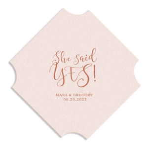 Our personalized Blush with Kraft back Deco Coaster with Satin Copper Penny Foil can be personalized to match your party's exact theme and tempo.