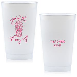 Our custom Matte Fuchsia Ink 10 oz Frost Flex Cup with Matte Fuchsia Ink Cup Ink Colors has a Pineapple Tiki graphic and is good for use in Food, Beach/Nautical themed parties and will impress guests like no other. Make this party unforgettable.