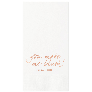 ForYourParty's elegant Marble Blush Cocktail Napkin with Shiny Champagne Foil will make your guests swoon. Personalize your party's theme today.