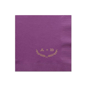Personalize this Plum napkin with Champagne foil color for an elegant fall look perfect for your bridal shower, engagement party or wedding. Our Half Leaf Branch graphic gives just the right trendy touch to accent your initials!