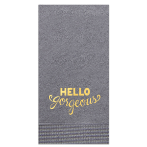 The ever-popular Ivory Guest Towel with Shiny 18 Kt Gold Foil has a Hello Gorgeous graphic and is good for use in Wedding, Girlfriend, themed parties and are a must-have for your next event—whatever the celebration!