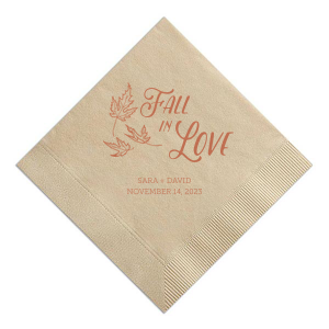 For Your Party's chic Sand Cocktail Napkin with Shiny 18 Kt Gold Imprint Foil Color pairs our Falling Leaves graphic with your names and special date. It couldn't be more perfect for fall weddings or rust themed parties! It's time to show off your impeccable taste.