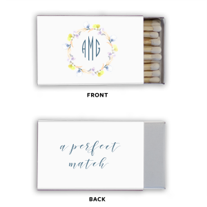 Our custom White Riviera Photo/Full Color Matchbox with Matte Stone Blue Ink Digital Print Colors can't be beat. Showcase your style in every detail of your party's theme!