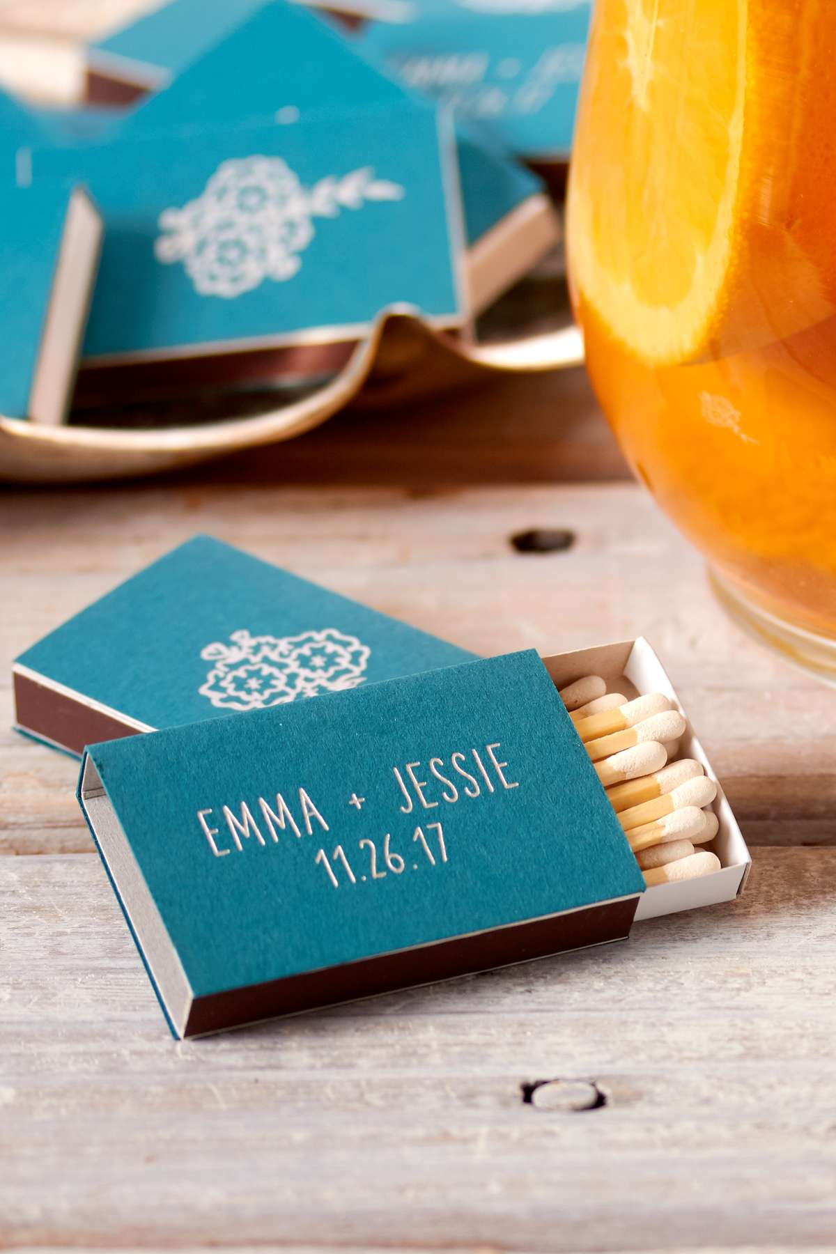 custom matches in teal for fall personalized wedding favors