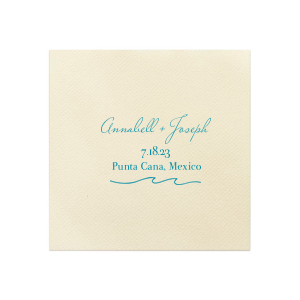Bring your wedding party to the beach! With a Wave graphic and Teal foil, these napkins will. Personalize with your names, wedding date and location for a detail just right for your destination wedding.