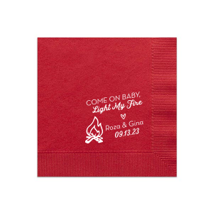 Custom Convertible Red Cocktail Napkin with Matte White Foil has a Campfire graphic and fun quote and is good for use in Outdoor and wedding themed parties and can be customized to complement every last detail of your party.