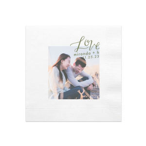 ForYourParty's chic White Photo/Full Color Luncheon Napkin with Matte Army Green Ink Digital Print Colors has a Love graphic and is good for use in Words, Hearts, Wedding themed parties and will add that special attention to detail that cannot be overlooked.