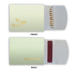 The ever-popular Poptone Mint Triangle Matchbox with Shiny 18 Kt Gold Foil can't be beat. Showcase your style in every detail of your party's theme!