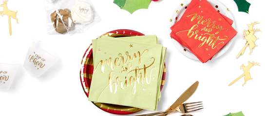 merry and bright gold foil