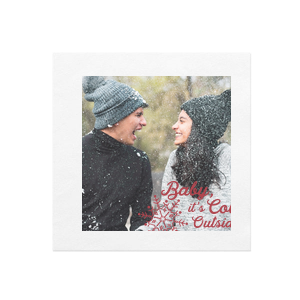 Personalized White Borderless Photo/Full Color Cocktail Napkin with Matte Red Berry Ink Digital Print Colors has a Snowflake graphic and is good for use in Winter and Wedding parties and can be customized to complement every last detail of your party.