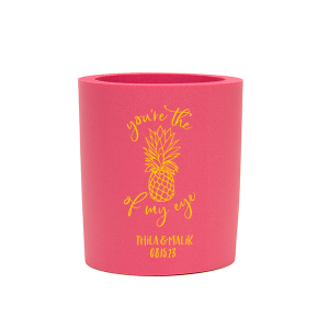 Custom Hot Pink Round Can Cooler with Matte Sunflower Ink Cup Ink Colors has a Pineapple Tiki graphic and is good for use in Food, Beach/Nautical themed parties and will look fabulous with your unique touch. Your guests will agree!