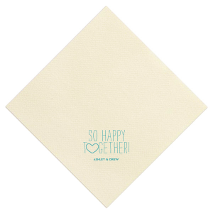 ForYourParty's elegant Sand Cocktail Napkin with Matte Teal/Peacock Foil has a Heart Outline graphic and is good for use in Hearts, Wedding themed parties and can't be beat. Showcase your style in every detail of your party's theme!