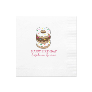 Personalize our donut full color napkin with your special person's name and birthday. Our full color napkins bring fun energy to any birthday celebration. Upload your own art using the FYP Customizer if you want to make it your own.