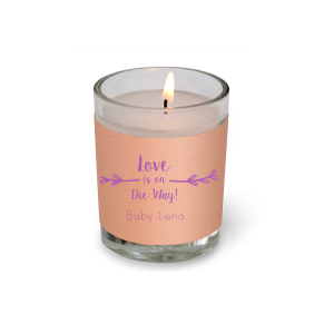 The ever-popular Poptone Peach Votive Candle with Satin Plum Foil has a Leaf Single Initial graphic and is good for use in Frames, Floral themed parties and will look fabulous with your unique touch. Your guests will agree!