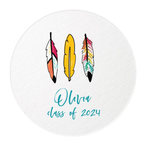 Custom White Photo/Full Color Round Coaster with Matte Teal/Peacock Ink Digital Print Colors will give your party the personalized touch every host desires.