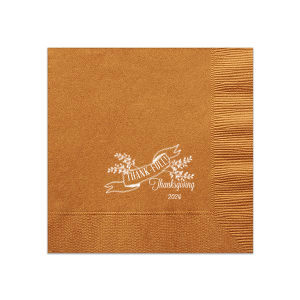 Our custom Burnt Sienna Cocktail Napkin with Matte White Foil has a Twig Banner graphic is great for your next Thanksgiving gathering. Showcase your style in every detail of your party's theme!