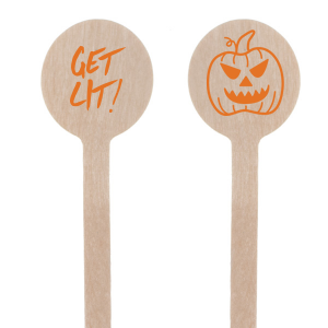 Our custom Matte Tangerine Round Stir Stick with Matte Tangerine Foil has a Scary Pumpkin graphic and is good for use in Halloween themed parties and will give your party the personalized touch every host desires.