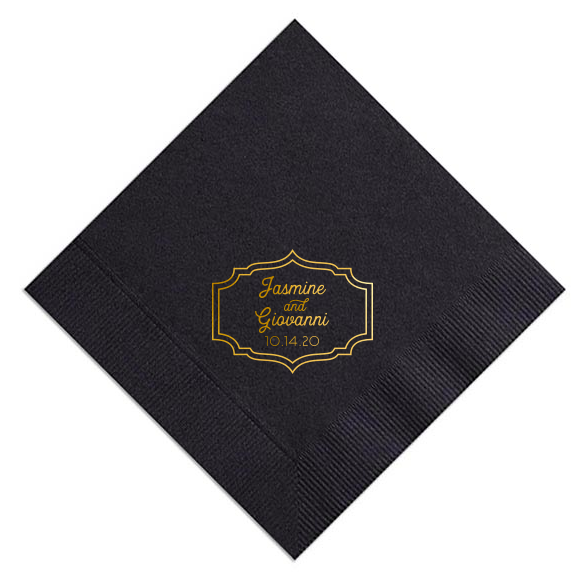 custom designed black and gold dinner napkin