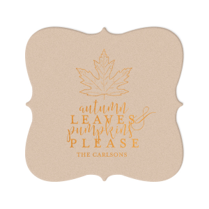 Our beautiful custom Kraft with Blush back Nouveau Coaster with Shiny Copper Foil Color has a Maple graphic and is good for use in Delphine themed parties and will add that special attention to detail that cannot be overlooked.