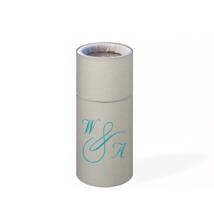 Personalized Natural Gray Barrel Matchbox with Shiny Turquoise Foil Color will look fabulous with your unique touch. Your guests will agree!