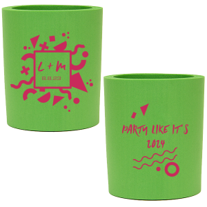 ForYourParty's elegant Spring Green Round Can Cooler with Matte Fuchsia Ink Screen Print and Silver Ink Screen Print has a Confetti Frame graphic and is good for use in Birthday, Wedding and Retro themed parties and will give your party the personalized touch every host desires.