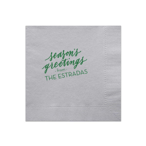 ForYourParty's elegant Marble Gray Cocktail Napkin with Satin Leaf Foil has a Season's Greetings graphic and is good for use in Holiday and Christmas themed parties and will add that special attention to detail that cannot be overlooked.