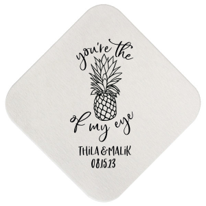 Our custom White Square Coaster with Matte Fuchsia Foil has a Pineapple Tiki graphic and is good for use in Food, Beach/Nautical themed parties and couldn't be more perfect. It's time to show off your impeccable taste.