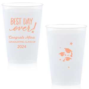 ForYourParty's elegant Matte Light Coral Ink 16 oz Frost Flex Cup with Matte Light Coral Ink Cup Ink Colors has a Best Day Ever graphic and a Caps Thrown graphic and is good for use in Graduation themed parties and can be personalized to match your party's exact theme and tempo.
